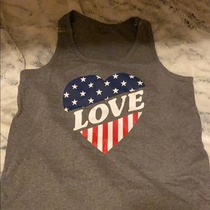 Red White and blue love heart tank